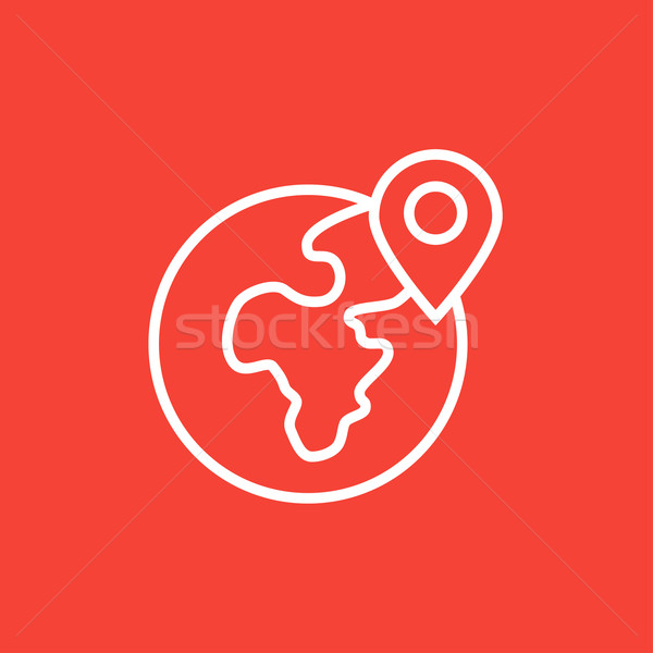 Globe with pointer line icon Stock photo © RAStudio