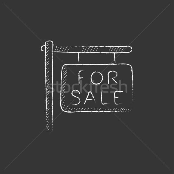For sale signboard. Drawn in chalk icon. Stock photo © RAStudio