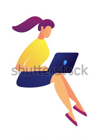 Business woman relaxing on cloud. Stock photo © RAStudio