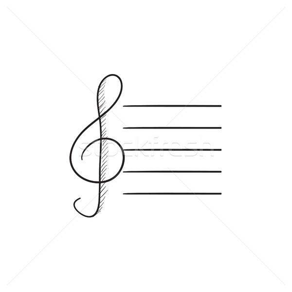Stock photo: Treble clef sketch icon.
