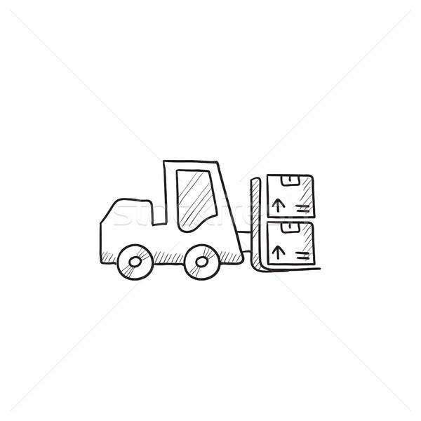 Targonca rajz ikon vektor izolált kézzel rajzolt Stock fotó © RAStudio