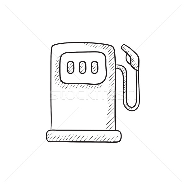 Posto de gasolina esboço ícone vetor isolado Foto stock © RAStudio