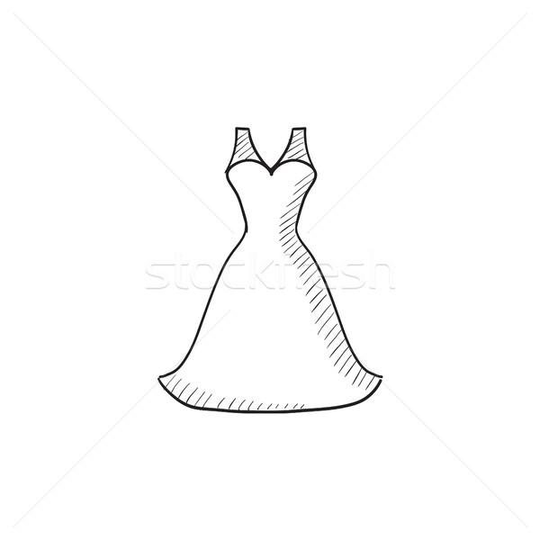 Hochzeitskleid Skizze Symbol Vektor isoliert Hand gezeichnet Stock foto © RAStudio