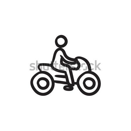 Man riding motorcycle sketch icon. Stock photo © RAStudio