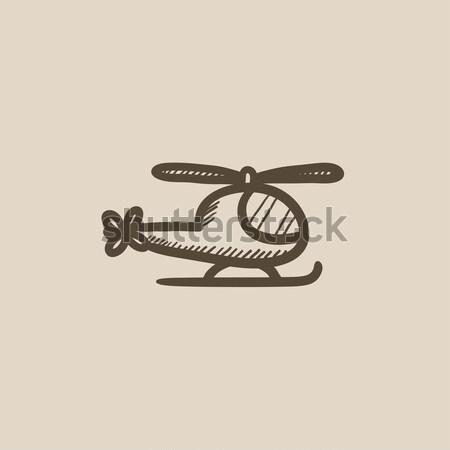 Helikopter rajz ikon vektor izolált kézzel rajzolt Stock fotó © RAStudio