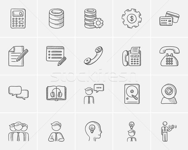 Technológia rajz ikon gyűjtemény háló mobil infografika Stock fotó © RAStudio