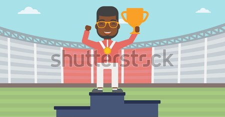 Stock fotó: Sportoló · ünnepel · nyertesek · pódium · ázsiai · fiatal