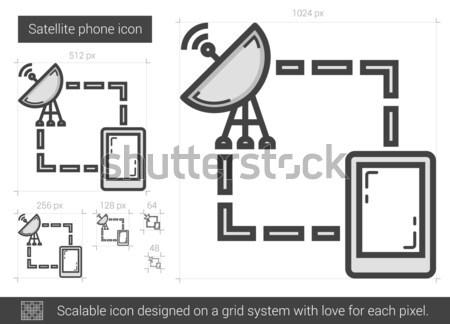 Satélite telefone linha ícone vetor isolado Foto stock © RAStudio
