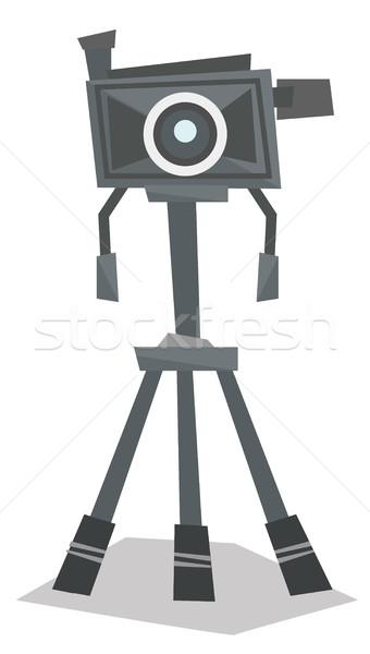 Photo camera on tripod vector illustration. Stock photo © RAStudio