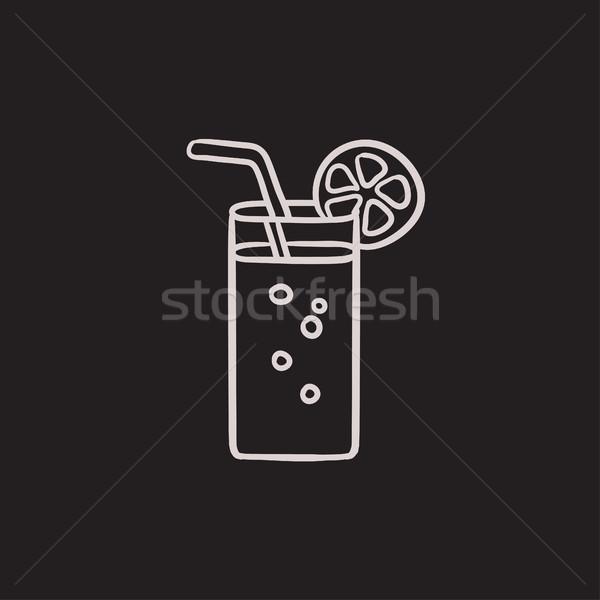 Glass with drinking straw sketch icon. Stock photo © RAStudio