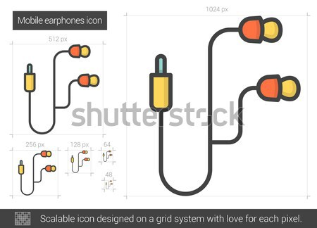 Mobile earphones line icon. Stock photo © RAStudio