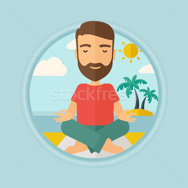Man meditating in lotus pose vector illustration. Stock photo © RAStudio