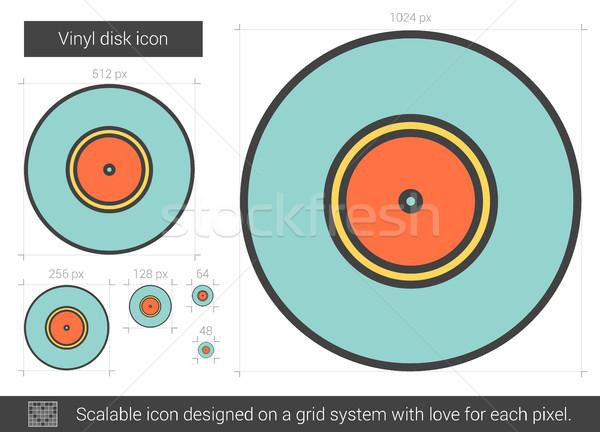 Vinil disco linha ícone vetor isolado Foto stock © RAStudio