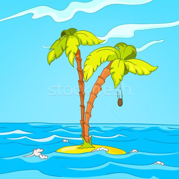 Cartoon tropisch eiland zee landschap eiland Stockfoto © RAStudio