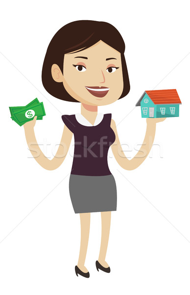 Stok fotoğraf: Kadın · satın · alma · ev · teşekkürler · borç · kafkas