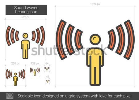 Sound waves hearing line icon. Stock photo © RAStudio