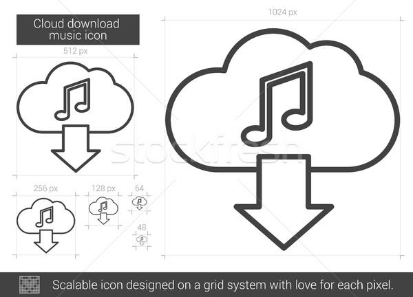 Wolk downloaden muziek lijn icon vector Stockfoto © RAStudio