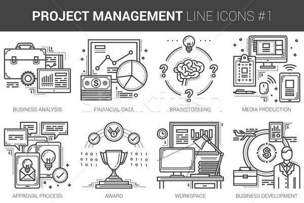 Foto d'archivio: Progetto · gestione · line · infografica · metafora