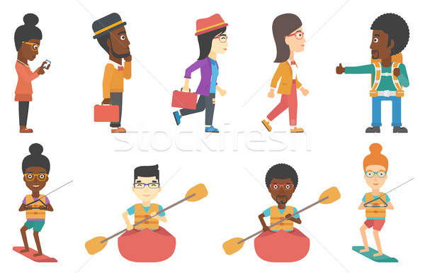 Set of tourists business and sport characters. Stock photo © RAStudio