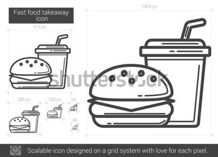 Fast food line ikona wektora odizolowany biały Zdjęcia stock © RAStudio