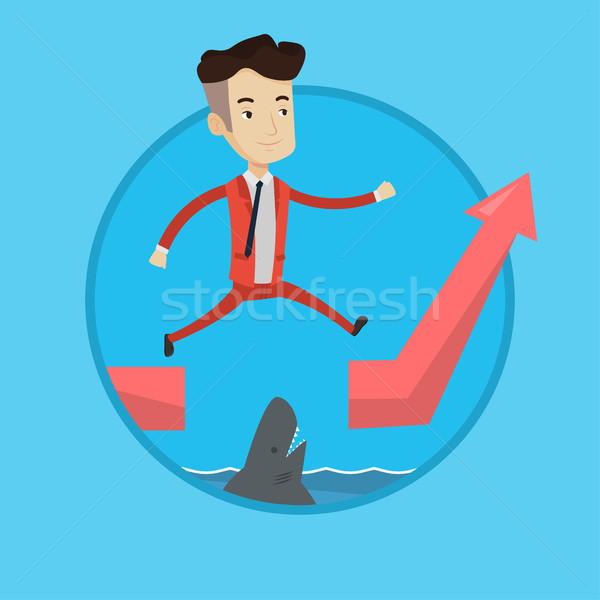 рискованный бизнесмен прыжки океана акула счастливым Сток-фото © RAStudio
