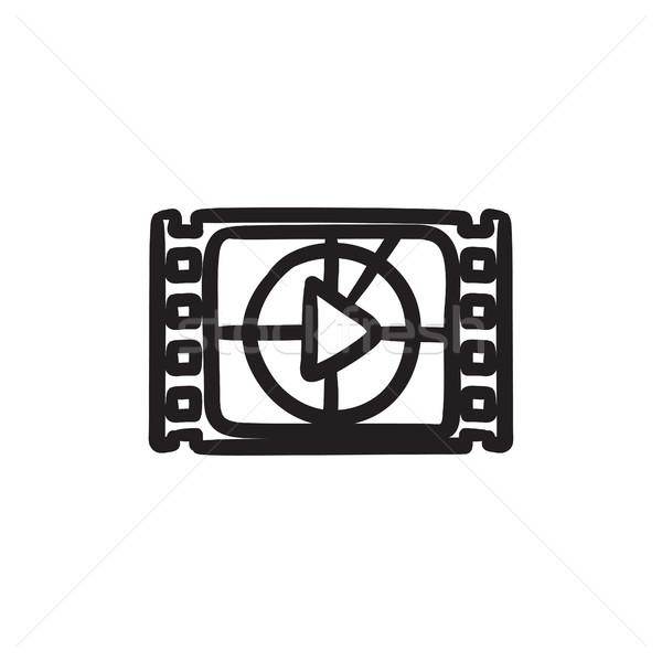 Filmstrip spelen knop schets icon vector Stockfoto © RAStudio