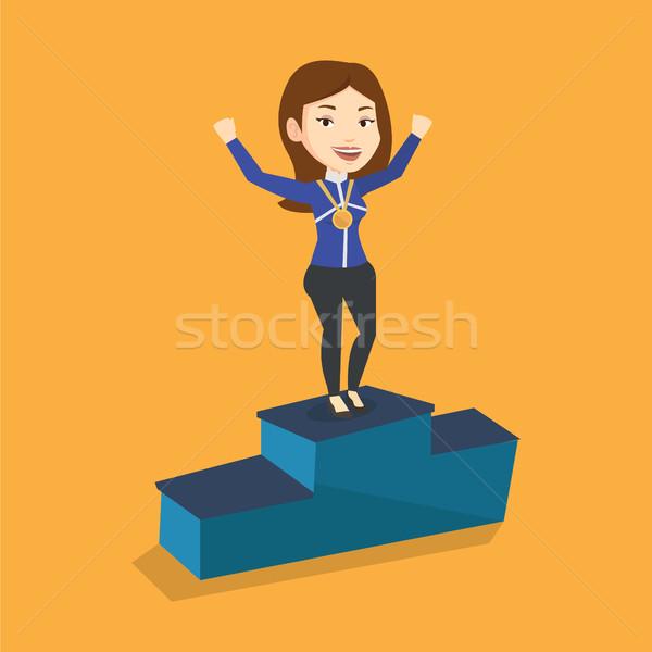 Zdjęcia stock: Sportsmenka · zwycięzcy · podium · młodych
