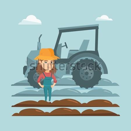 фермер Постоянный трактора азиатских счастливым женщины Сток-фото © RAStudio