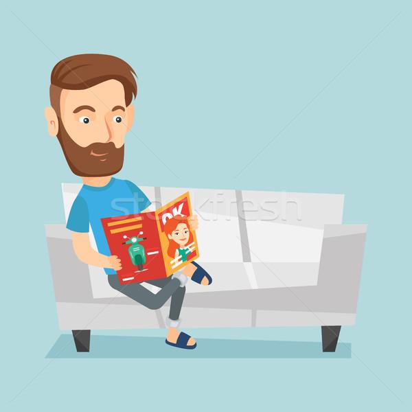 男 読む 雑誌 ソファ 小さな 白人 ストックフォト © RAStudio