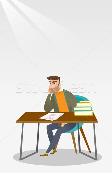 Szomorú diák néz teszt papír rossz Stock fotó © RAStudio