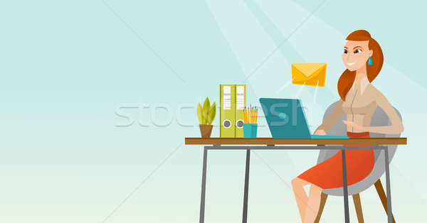 Business woman receiving or sending email. Stock photo © RAStudio