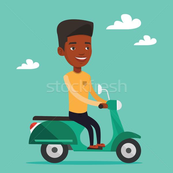 Man riding scooter vector illustration. Stock photo © RAStudio