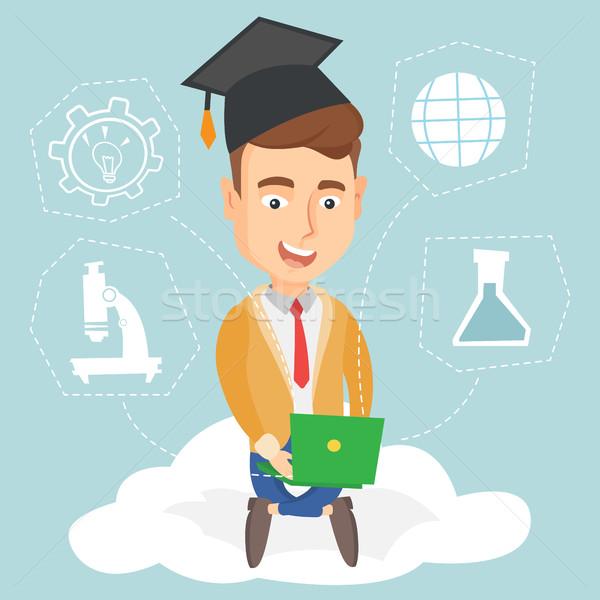 Graduate sitting on cloud vector illustration. Stock photo © RAStudio