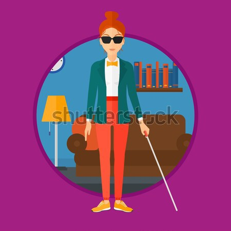 Blind man with stick vector illustration. Stock photo © RAStudio