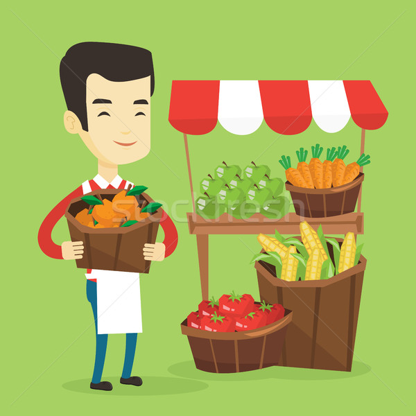 Greengrocer with fruits and vegetables. Stock photo © RAStudio