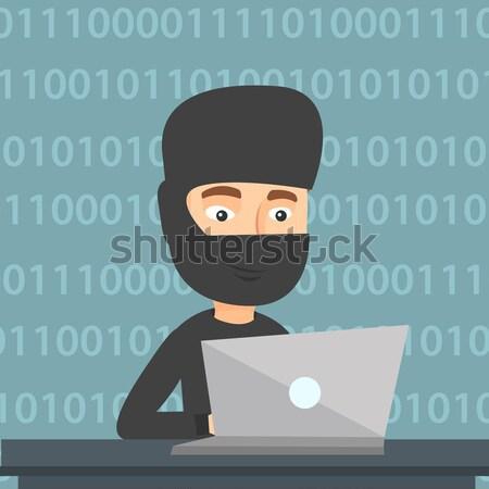 Stok fotoğraf: Hacker · dizüstü · bilgisayar · kullanıyorsanız · bilgi · maske · çalışma · dizüstü · bilgisayar