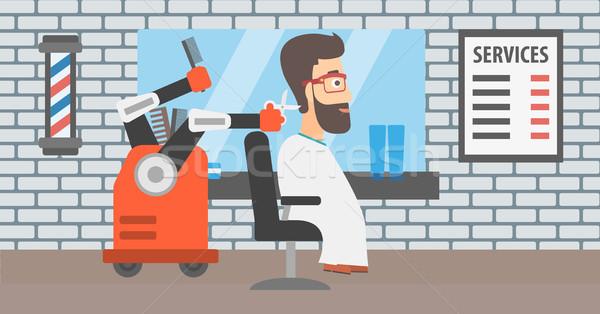 Robot hairdresser making haircut to a hipster man. Stock photo © RAStudio