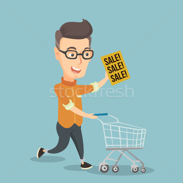 Man running in a hurry to the store on sale. Stock photo © RAStudio