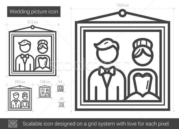 свадьба фотография линия икона вектора изолированный Сток-фото © RAStudio