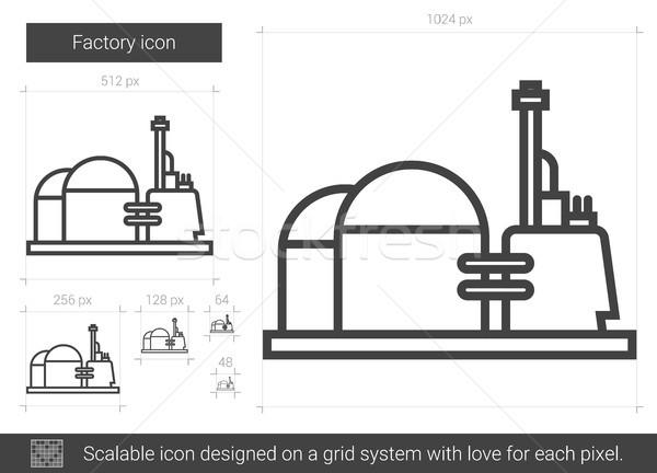 Foto stock: Fábrica · línea · icono · vector · aislado · blanco