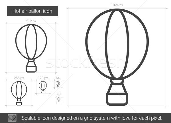 воздушном шаре линия икона вектора изолированный белый Сток-фото © RAStudio