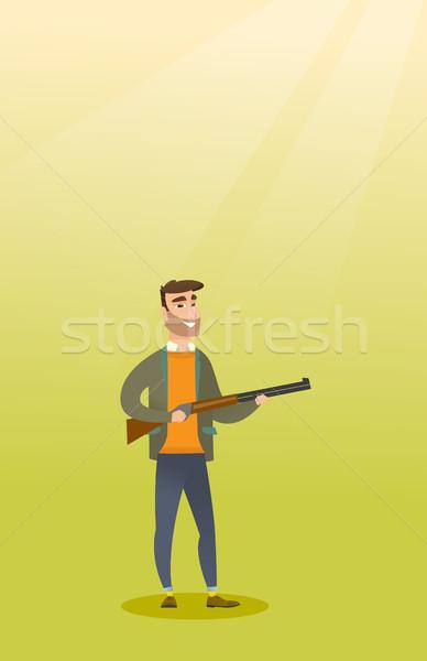 Jonge kaukasisch jager jacht geweer Stockfoto © RAStudio