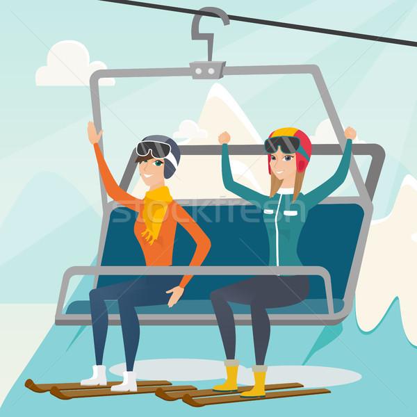 два кавказский лыжных курорта сидят лифта Сток-фото © RAStudio