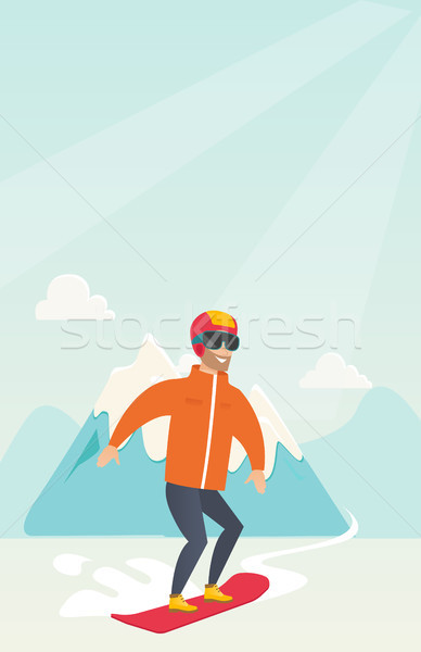 Young caucasian man snowboarding. Stock photo © RAStudio