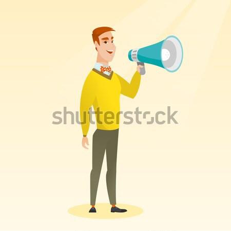 Kaukasisch zakenman praten luidspreker aankondiging Stockfoto © RAStudio