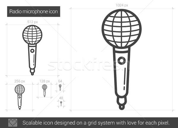 радио микрофона линия икона вектора изолированный Сток-фото © RAStudio
