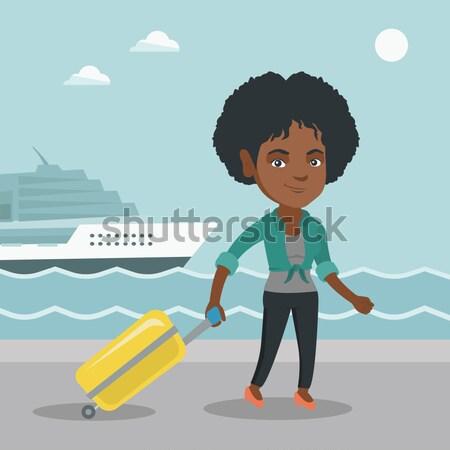 Happy businesswoman running vector illustration. Stock photo © RAStudio