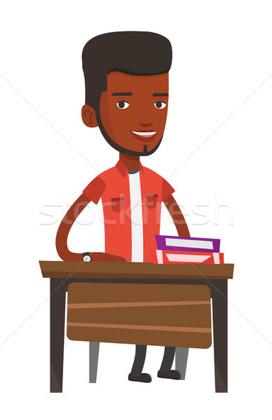 African-american student sitting at the desk. Stock photo © RAStudio