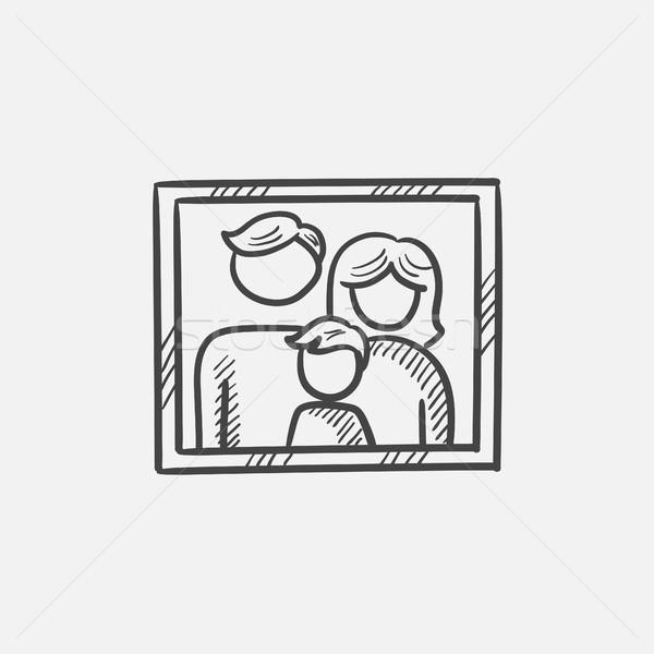 Foto stock: Família · foto · esboço · ícone · teia · móvel