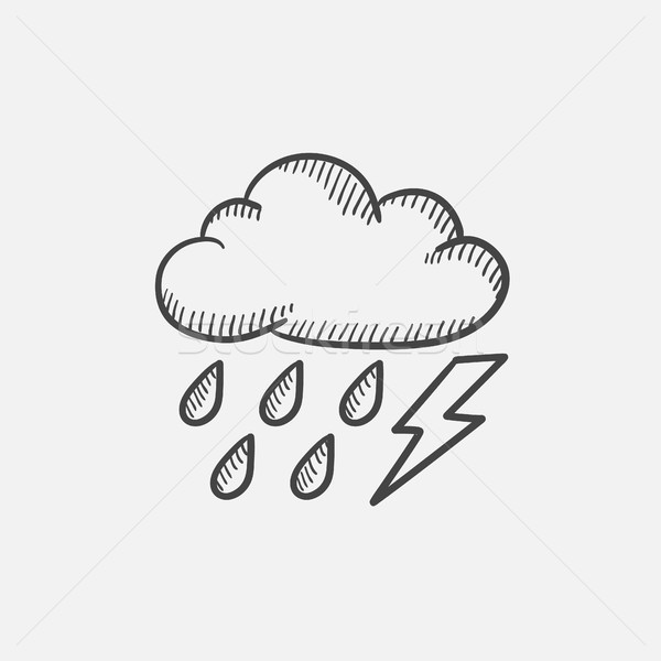 Cloud with rain and lightning bolt sketch icon. Stock photo © RAStudio